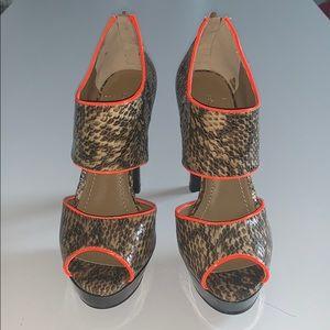 BCBGENERATION Brown Snakeskin Heels